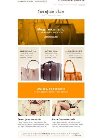 Modelo de E-mail marketing informativo (lançamentos)